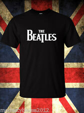 The BEATLES RETRO T shirt Rock Band Music Logo  Black T-Shirt Size S-3XL
