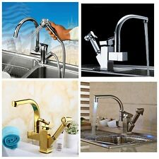 Deck Mount Brass Kitchen Faucet Pull Out Sprayer Swivel Spout Vessel Sink Mixer