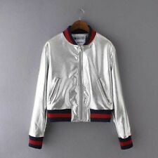 New Womens Silver/Gold Faux Leather Zip Up  Bomber Baseball Jacket Coat SML