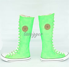 Womens Flats Retro Canvas Shoes Lace-up Knee High Boots Fashion Dance Shoes Size