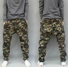 Mens Camouflage cargo Casual Harem Trousers Baggy Pants Drop Crotch Jeans all SZ