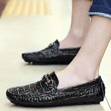 Genuine Leather Crocodile Print Loafer Driving Moccasin Mens Casual Dress Shoes