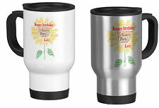 Personalised Travel Mug with Word Art Sunflower, Birthday,your own words
