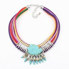 new turquoise rope chain bib crystal big pendant chunky statement stone necklace