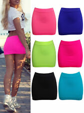 WOMENS NEON LYCRA STRETCH MINI SKIRT LADIES SPANDEX SHORT BOOTY CLUB BODY SHAPER