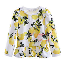 Girls Lemon T-shirt Long Sleeve Top TEE New Kids Clothes Age 3 4 5 6 7 Years