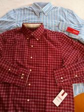 MEN'S IZOD DRESS SHIRT~BUTTON-DOWN COLLAR/LONG SLEEVE~SM OR MED~RED/BLUE/PLAID