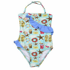 Elfindollkids Girls Ruffle Swimwear Overall in Blue/Pink Size 5,6,7,8,9,10