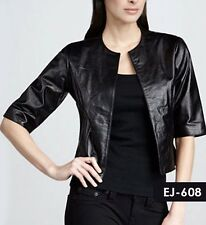 New Ladies Leather Jacket/Caot.Leather Jacket in Black Sexy biker Rocker fashion