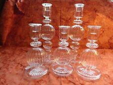 SET OF FIVE CLEAR GLASS HOLLOW CANDLE HOLDERS - UNIQUE AND BEAUTIFUL!