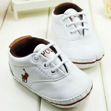 white Baby Boy Girl Toddle infant Soft Sole Crib Shoes sneaker Size 0-18 Months