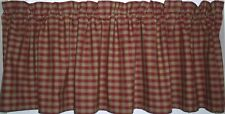 Berry Red Checked Plaid Valance Primitive Country Curtains Runner French Country