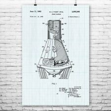 NASA Mercury Space Capsule Poster Patent Print Gift Travel Technology Astronaut