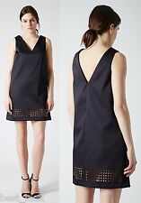 Topshop Navy Laser-Cut Satin Shift Dress Sizes 8 to 16