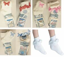 3,6,12 Pairs GIRLS SCHOOL COTTON COLOUR LACE SOCKS FRILLY LACE ANKLE SOCKS