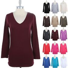 Basic Cotton V Neck Long Sleeve T Shirt Plain Solid Top Women Junior Comfy S M L