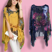 Womens Floral Print Batwing Sleeve Blouse Loose Shawl Cape Chiffon T-shirt Tops