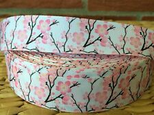 "1, 3, or 5  yards PINK BLOSSOMS 1"" grosgrain ribbon- COMBINE SHIPPING"