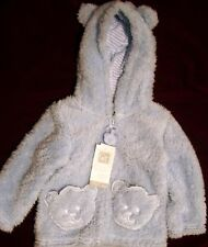 "New ""QT Baby"" Blue Faux Fur Hooded Jacket - 12 or 18 Months - Teddy Bear Theme"