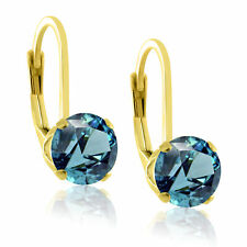 14k Gold over Sterling Silver 6mm Cubic Zirconia CZ Gemstone LeverBack Earrings