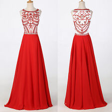 India RED Lace Dress Formal Ball Gown Sleeveless Evening Prom Party Long Dresses