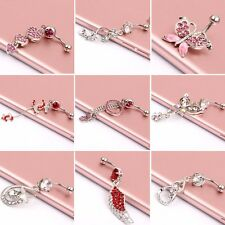 Crystal Steel Navel Ring Belly Button Barbell Dangle Bar Body Piercing Jewelry
