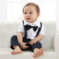 Baby Black Bow Gentleman Suspender Boy Grow Short Sleeved Bodysuit Romper Onesie