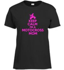 Keep Calm I'm A Motocross Mom T-Shirt Mother Motorcycle Racing Ladies Tee