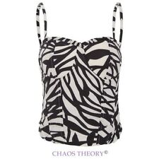 Womens Ladies Bralet Cami Top Animal Print Lace Back Strappy Party Bustier