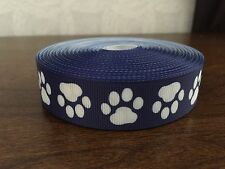 1m Blue With White Dog Paw Print Collar Lead Printed Grosgrain Ribbon, 7/8