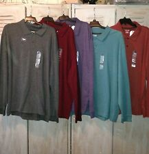 St. John's Bay Heritage Long-Sleeve Sueded Jersey BIG TALL Polo XXL 2XL SO SOFT