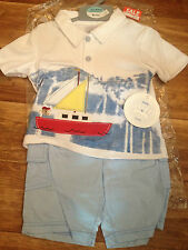 MINI CHIC BABY BOY SHORTS AND TSHIRT OUTFIT SET 12-18 OR 18-23 MONTHS BOATS