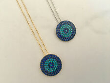 925 Sterling Silver 18K Gold Turquoise CZ Zirconia  Evil Eye Mati Nazar Necklace