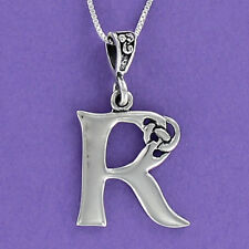 Letter R Celtic Knot Pendant Sterling Silver 925 on 18-inch Chain Initial