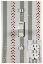 Sports Baseball Decor Single Toggle Decorative Light Switch Cover Outlet Plate