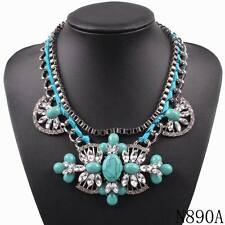 statement crystal women bib black chain chunky big pendant necklace jewelry 2017