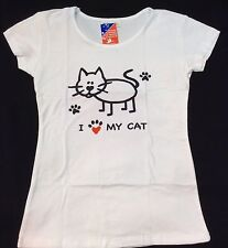 "Lady funny  Crop Top T-shirt "" I LOVE  MY Cat  ""  All Sizes Available Man & Lady"