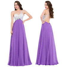 New Chiffon One Shoulder Formal Evening Cocktail Bridesmaid Dress AU Size 4-18