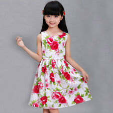 New Girls Dress Red Cotton Flower Print  Party Birthday Kids Clothing 4-12Y