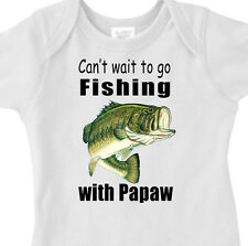 """Can't Wait To Go FISHING"" With PAPAW Youth or Infant BASS FISH T-Shirt"