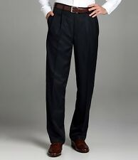 New Roundtree & Yorke Microfiber Easy-Care Pleated Expander Cuffed Dress Pants