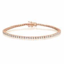 Rose Gold over Sterling Silver 2mm Cubic Zirconia Tennis Bracelet Round CZ