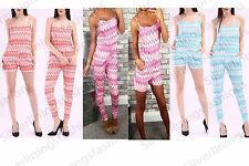 Womens Strappy Aztec Playsuit Pockets Front Sleeveless Summer Jumpsuit Set 8-14