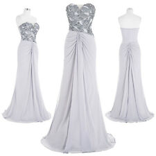Strapless Sequined Chiffon Evening Dress Long Cocktail Ballgown Party Bridesmaid