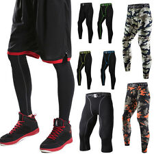 Mens Sports Basketball Compression Thermal Base Layer Tights Fitness Long Pants