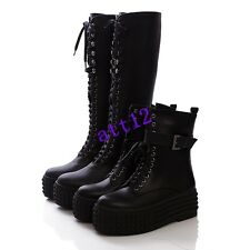 New Womens Lace Up Ankle&Knee High Boot Heel Military Creeper Platform Punk Shoe