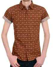 Mens New 50s 60s Indie Preppy Retro TVs Short Sleeve Fitted 80s Vintage Shirt