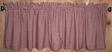 Berry Red Navy & Tan Plaid Americana Valances Tiers Primitive Country Curtains