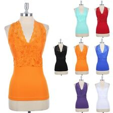 Seamless Floral Lace V Neck Halter Top Open Back Ribbed Body Stretch ONE SIZE