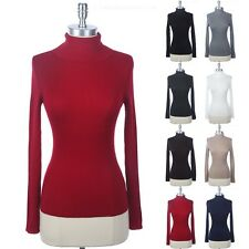Women's Turtleneck Full Ribbed Long Sleeve Fitted Sweater KNIT Top Fitted S M L
